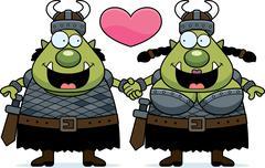 Cartoon Orc Couple Stock Illustration
