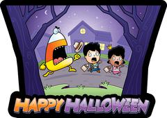 Cartoon Trick-or-Treat Halloween Stock Illustration