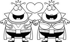 Stock Illustration of Cartoon Martian Couple