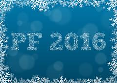 PF 2016 - white text made of snowflakes on background with bokeh effect Stock Illustration