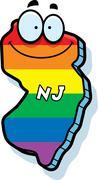 Cartoon New Jersey Gay Marriage Stock Illustration