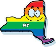 Cartoon New York Gay Marriage Stock Illustration