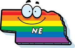 Cartoon Nebraska Gay Marriage - stock illustration
