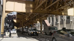 Chicago steel construction for subway and train Stock Footage