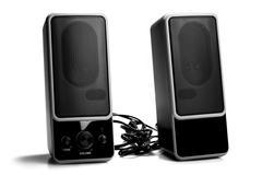 Black two speaker isolated on white background Stock Photos