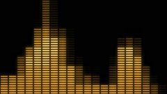 Gold Digital audio VU meters moving to beat - In 4k Stock Footage