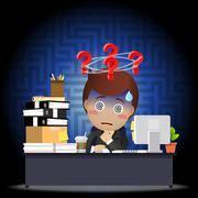 Confused businessman working on computer at desk Stock Illustration