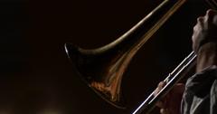 Jazz musician artist play trombone solo Stock Footage