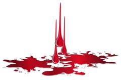 Vector puddle of blood with drops isolated Stock Illustration
