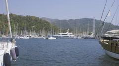 Calm Marmaris marina Stock Footage