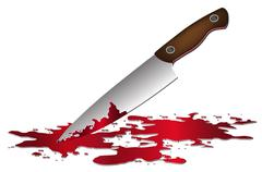 realistic bloody knife. Knife with blood vector illustration. - stock illustration