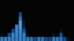Cyan Digital audio VU meters moving to beat - In 4k Stock Footage