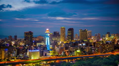 Osaka, Japan Skyline Time Lapse at the Shinsekai District Stock Footage