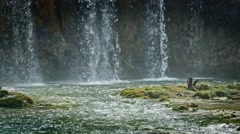 Lakes with waterfall in Croatia. Location: Plitvice, National Park Stock Footage