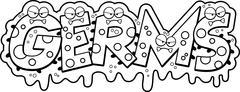 Cartoon Slimy Germs Text - stock illustration