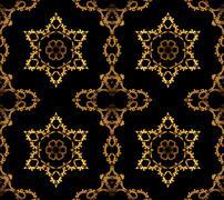 Seamless stars and ornaments golden black - stock illustration