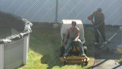 Landscaper riding Lawn Mower, cutting grass, sound Stock Footage