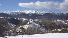 4K Beautiful mountain landscape idyllic place romantic holiday winter sunny day  Stock Footage