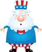 Surprised Cartoon Uncle Sam - stock illustration
