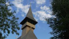 Wonderful wooden  Vodita monastery located in western Romania Mehedinti count Stock Footage