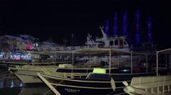 Mid shot on boat Marmaris marina Stock Footage