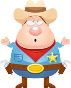 Confused Cartoon Sheriff - stock illustration