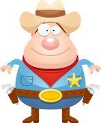 Stock Illustration of Happy Cartoon Sheriff