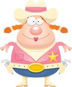 Happy Cartoon Sheriff - stock illustration