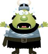 Scared Cartoon Orc - stock illustration