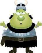 Confused Cartoon Orc - stock illustration