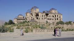 AFGHANISTAN KABUL DARULAMAN PALACE - stock footage