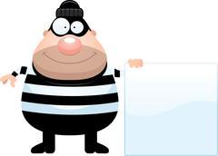 Cartoon Burglar Sign Piirros