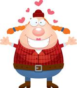 Cartoon Lumberjack Hug - stock illustration