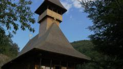 Wooden  Vodita monastery located in western Romania Mehedinti county 4K 2160p Stock Footage