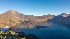 Mount rinjani volcano at the sunset time lapse indonesia Stock Footage