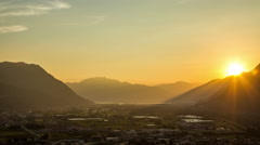 Ticino valley with mountains in the evening, sunset timelapse Stock Footage