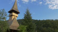 Wooden monastery  Vodita located in western Romania Mehedinti county 4K 2160p Stock Footage