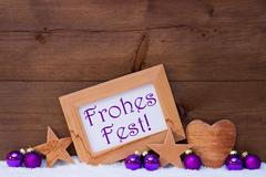 Purple Decoration Text Frohes Fest Mean Merry Christmas - stock photo