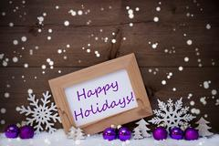 Purple Christmas Decoration, Snow, Happy Holidays, Snowflakes - stock photo