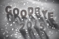 White Christmas Word Goodbye 2015 On Snow, Snowflakes Stock Photos
