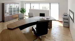 3D interior rendering of a modern office Stock Illustration