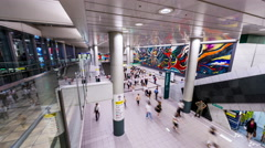 Passengers in Shibuya Station Main Hall Stock Footage