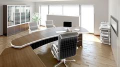 3D interior rendering of a modern office - stock illustration