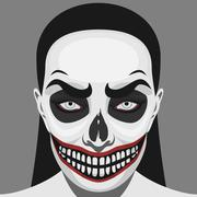 Scary Skull Woman with Halloween Makeup - stock illustration