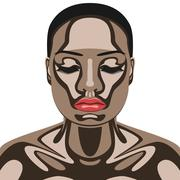 Beauty Woman with Chocolate on her Face - stock illustration