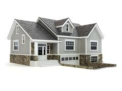 House isolated on white. Real estate concept. - stock illustration