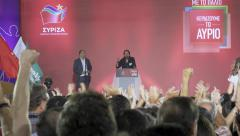 4k Pablo Iglesias leader of Spanish podemos at Syriza pre elections speech Stock Footage