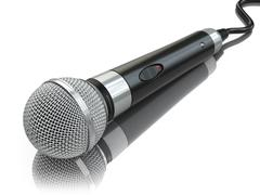 Stock Illustration of Microphone isolated on white. Caraoke or news concept.
