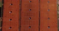 Aerial top view of tennis court. Stock Footage