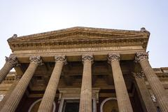Entrance of Teatro Massimo Vittorio Emanuele, Palermo, Sicily. - stock photo